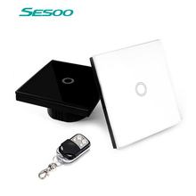 Sesoo Wifi Switch 1 Gang 1 Way, Wireless Remote Control Light Switches, Crystal Glass Panel Touch Wall Switch With Controller