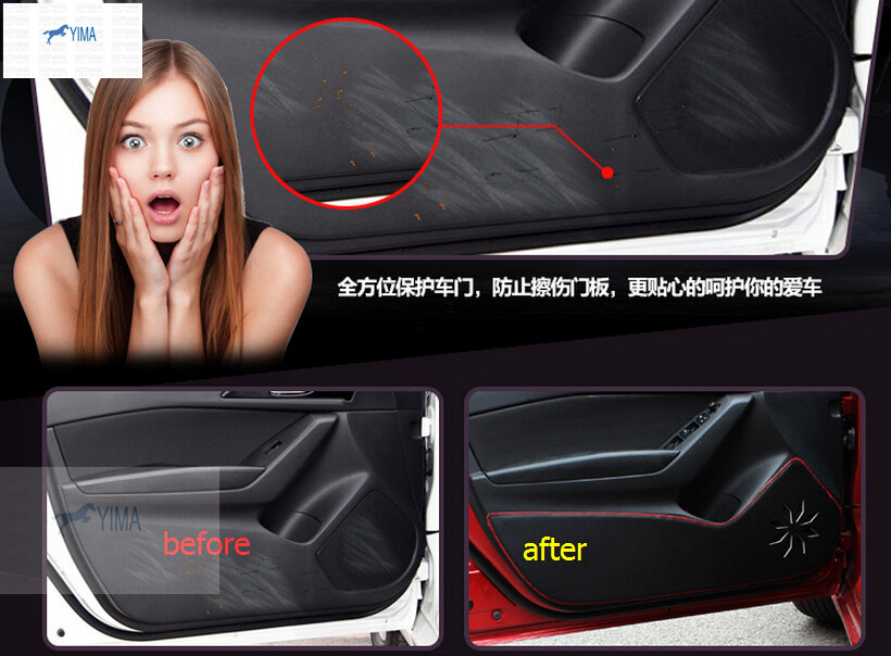 For Mazda 3 AXELA M3 Sedan 2014 2015 2016 Black Inner Door Protection protective pad kick pad<br>