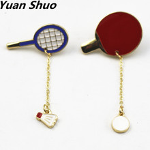 New fashion sports enamel badminton/ping-pong racket badges Women brooch 2016 manufacturers wholesale and direct sales(China)