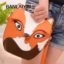WholeTide 10*New Women Leather Cartoon Bag Fox Shoulder Messenger Bag Orange