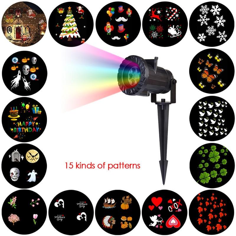 HUANJUNSHI 15 PCS Projector Light RGB Lawn Laser Lamp Waterproof Outdoor Lighting DJ Disco Party Light For Christmas Halloween <br>