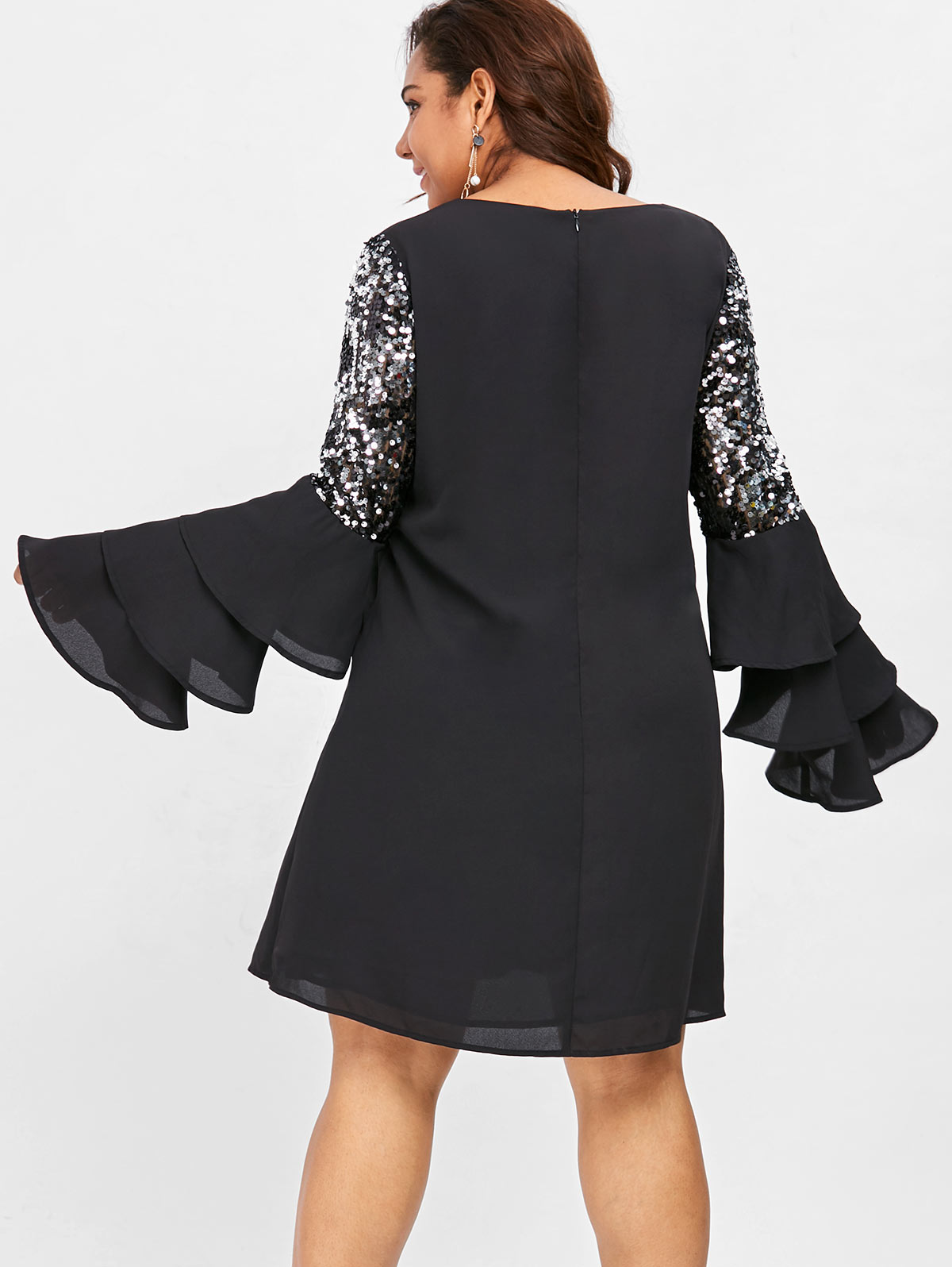 Material Polyester Silhouette Straight Dresses Length Mini Neckline V-Neck  Sleeve Length Long Sleeves Embellishment Sequins Pattern Type Solid Color 8f82cd288938
