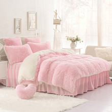 High-quality Purple Blue Pink creamy-white Cashmere Wool Velvet Ruffle Duvet Cover Bedding Sets Bed sheet Duvet cover Pillowcase
