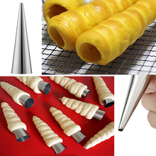 5pcs DIY Baking Cones Stainless Steel Spiral Baked Croissants Tubes Horn Pastry Roll Cake Mold Bakeware(China)