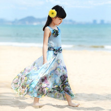 Girls dress New 2017 teens children girl floral dresses summer bohemian dress fashion chiffon beach dress kids clothes