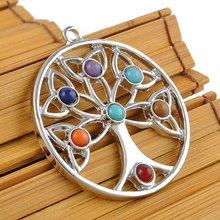 Energy Jewelry Women Charm Nature Beads Reiki Healing Point Chakra Pendant Crystal Tree Flower Angel Wings Pattern Necklace(China)