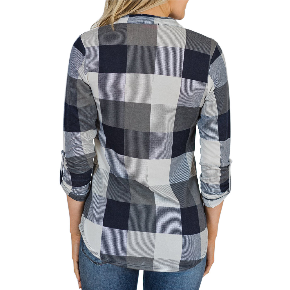V-neck Blouse Women Long Sleeve Plaid Shirt Top Spring Autumn Casual Office Blouse Blusas Mujer De Moda 2018 Blouses Feminine10