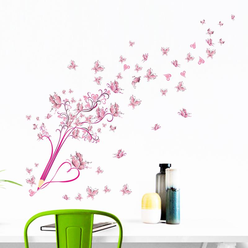 HTB1YEd3xwaTBuNjSszfq6xgfpXaw - Flying Pink Butterfly Flower Blossom Pencil Tree Wall Sticker