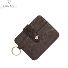 Genuine Leather Wallet Men's Brown Credit/ID Card Holder Slim Purse Gift Slim Credit Card Holder Mini Purse bag monedero hombre