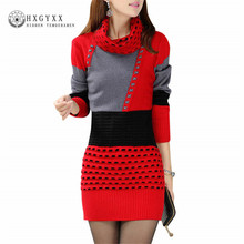 limited 2017 fashion winter sweaters dress turtleneck full sleeve knitted cotton sexy dresses patchwork mini pullovers ss206