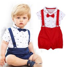 2017 Summer Gentleman Baby Boys Clothing Set Newborn Infant Boy Rompers with Bowtie Party Wedding Costumes 2pcs Baby Outfits New
