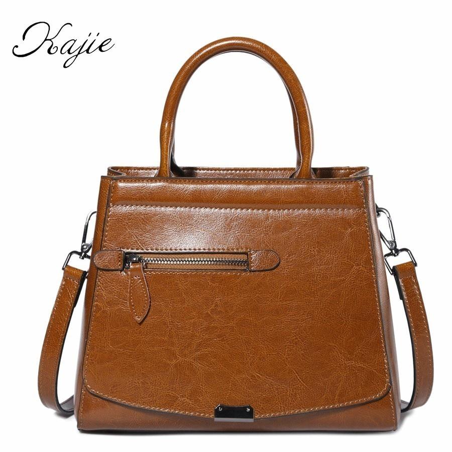 Kajie Fashion Oil Wax Cowhide Leather Womens Handbags Luxury Shoulder Bag Larger Capacity Women Bags Designer Leather Bag<br>