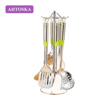 AHTOSKA 7/PCS Stainless Steel Kitchenware Good Quality Kitchen Spatula Set Frying Shovel Soup Spoon Colander Cooking Utensils(China)