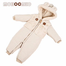 Winter Hooded Baby Rompers Boy & Girl Clothing Thickening Warm Newborn Clothes Full-Sleeved Baby Onesie MOHOCAKO Organic Cotton(China)