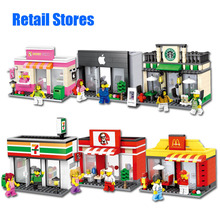 City Mini Street Scene 3D Model Retail Store Shop KFCE McDonald Cafe Apple Miniature Building Block Toy Hsanhe  Gift for kid boy