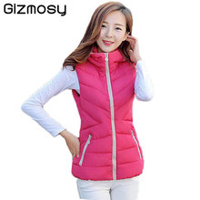 2017 Vest women cotton hooded collar vest New female warm Jacket&Outerwear Plus Size Thicken Waistcoat with 6 Buttons BN530