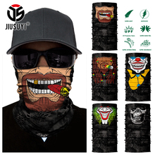 3D Seamless Headband Beard Man Joker Clown Skeleton Skull Neck Warmer Half Face Mask Head Scarf Bandana Sun Protection(China)