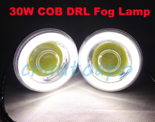 COB 30W Fog Lamp LED Foglight DRL Work Light Angel Eyes Projector For Car SUV BUS Truck Motorcycle - One Pair (3.5 Inch) 12V-24V