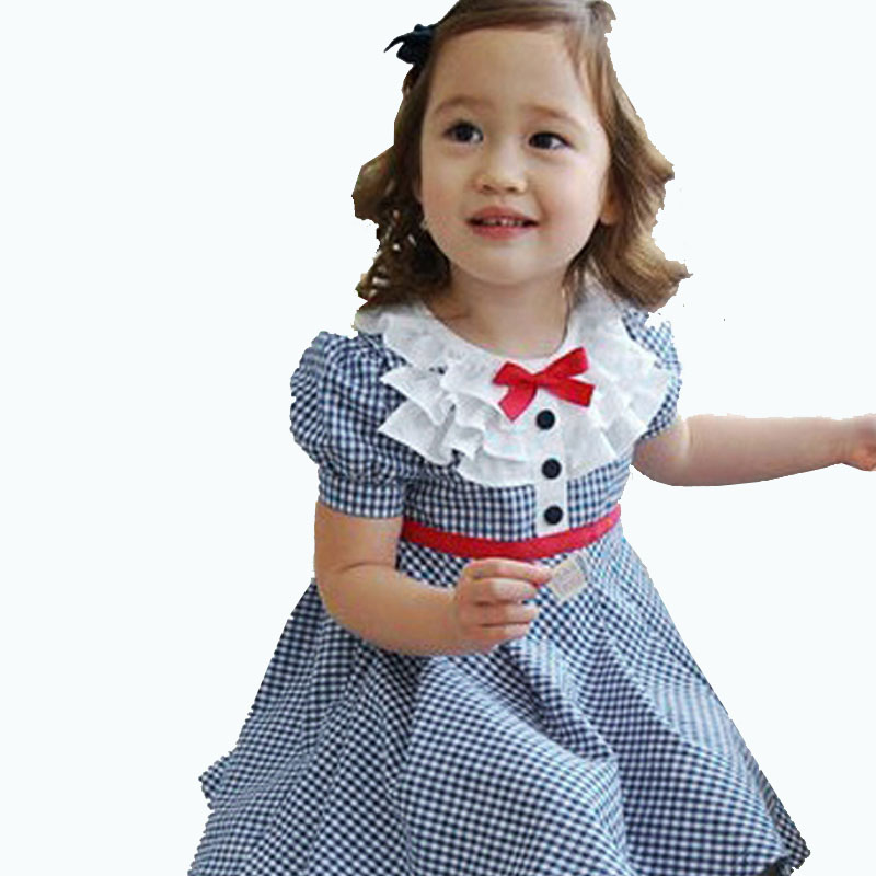 Fashion Baby Girls Summer Clothes Preppy Style Navy Plaid Puff Sleeve A-line Toddler Girl Dresses Kids Cotton Princess Costume<br><br>Aliexpress