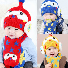 Baby Hat Winter New Arrival Newborn Hats for Girls Toddler Infant Cartoon Star Bear Ball Hat + Scarf Warm Thicken Knitted Caps