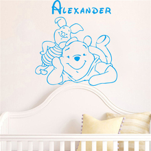 Winnie The Pooh Baby Wall Stickers home decoration custom baby names Bedroom Decor Vinyl Removable Kids Wall Decals # T206