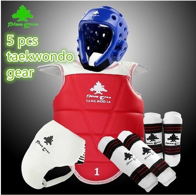 pinetree taekwondo  protective gear Five-piece suit full set of adult children thickening shin guard chest protector arm guard<br><br>Aliexpress