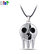 Hot Anime Soul Eater Metal Necklace the Kid's Collar Skull Logo Pendant Cosplay Accessories Jewelry