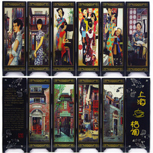 MINI Folding Screens 6 Joined Panels Decorative Painting Wood Byobu Forbidden City Great Wall Beijing Shanghai(China)