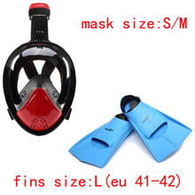 Underwater Anti Fog Snorkel Mask Fins Flippers For Diving Swimming Scuba Mergulho Full Face Snorkeling Maske Aqualung