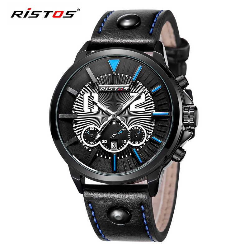 Fashion Brand Watch Ristos Mens Quartz Watch 2017 Mens Watches Waterproof Sport Military Leather Watches Men relogio masculino<br><br>Aliexpress
