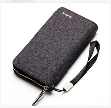 Baellerry men long wallet multi-card bit large capacity canvas zipper bag retro old wallet(China)