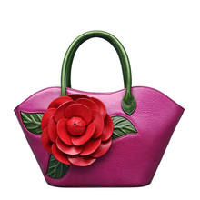 Designer Inspired Ladies Handmade Leather Tote floral Satchel Handbags(China)