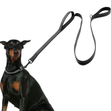 Dog Leash 2 Handles Black Nylon Padded Double Handle Leash For Greater Control Safety Training Protect Dog in Traffic