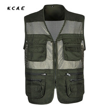Free Shipping New Mesh ArmyGreen Vests for Shooting Men Multi-pocket Photographer Vest Reporter Director Vest XL-3XL