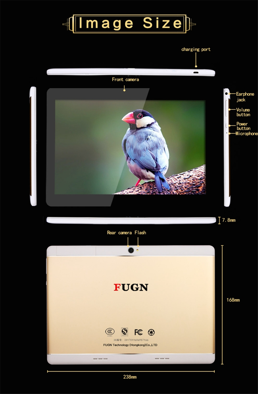 FUGN Original 10 inch 3G Phone Call Tablet Octa Core Android 6.0 Tablet PC 4GB Dual Camera GPS Smart Mini Drawing Notebook 8′