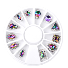 12 Design Glass Crystal Flame AB Rhinestones Gems Alloy Metal 3D Tips DIY jewelry Accessories Nail Art Decoration Tools Manicure(China)