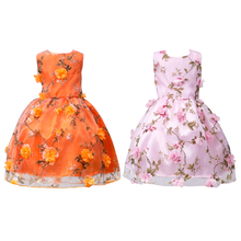 Pink/Orange Girls Princess Floral Dress Party Wedding Pageant Summer Sleeveless Polyester Fiber Dresses 3 to 12 Years