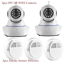 Wifi and GSM SMS Alarm System Wireless WiFi IR Cut IP Camera HD 1MP CMOS Security CCTV IP Camera Alarm with Smoke Detector