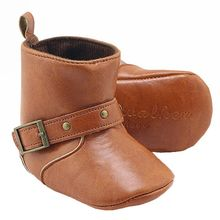Brown Baby Classic Cowboy Boots PU Buckle Soft Soled Baby Girl Winter Boots Infant Toddler Winter Shoes First Walkers(China)