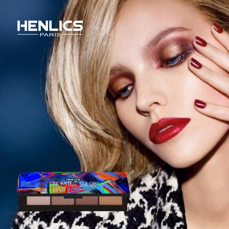 France HENLICS Brand 4 Colors Eyeshadow Palette Glamorous Smokey Eye Shadow Shimmer Colors Makeup Eyeshadow Palette (20)