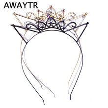 Women Hair Hoops Cat Ear Hairband Cute Girl Crown Tiara Headband Rhinestone Hairband Gold Plated Hair Jewelry for Party Gift