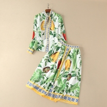Buy New Lady Clothes European Female Designer 2018 Summer Green Print Turn-down Collar Long Sleeve Shirt +Skirt Women's Twinsets for $66.78 in AliExpress store