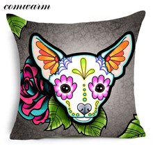 Comwarm Indian Rose Floral Bulldog Chihuahua Doberman Pattern Cushion colorful Puppy Dogs Throw Pillow for Sofa Seat Home Decor(China)