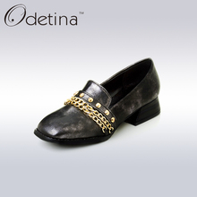 Odetina Fashion Square Toe Women Loafers Plus Size Low Special Heel Metal Decoration Shoes Comfortable Slip on Shoes for Women