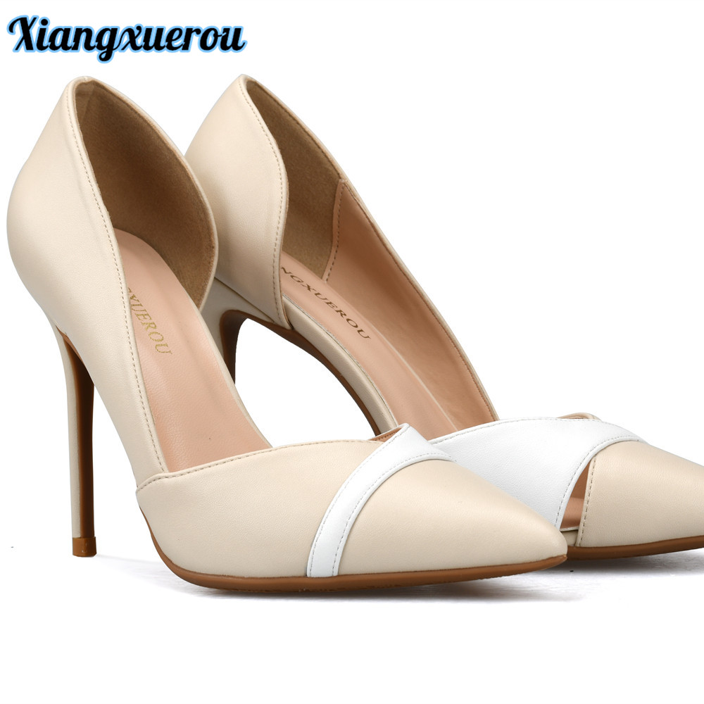 Xiangxuerou New Arrival 2018 Spring Female High Heels Single Shoes Slip on Pointed Toe Side Open Neutral Women Office Shoes<br>