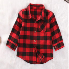 Baby Girl Cotton Plaid Long Sleeves Shirt Kids Red Plaid Blouse Children Fashion Tops Toddler New Spring Casual Blouse(China)