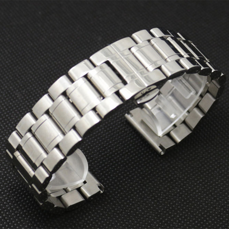 High Quality Watchband New 24mm 26mm 28mm 30mm Available Silver Stainless Steel Mens Metal Bracelet Watch Band Strap For DZ<br>