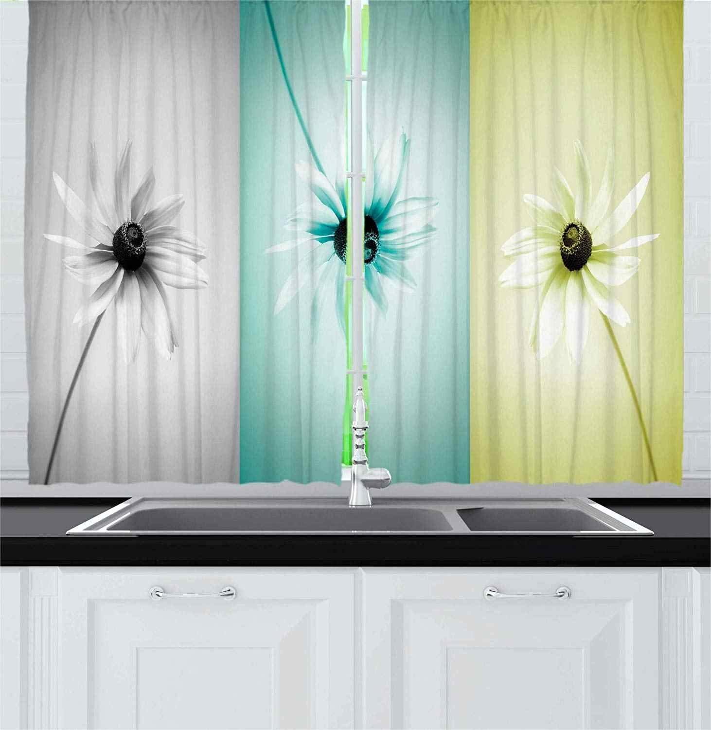 Abstract Curtains Daisy Flowers in Different Featured Framed Saturated Artsy Image Window Drapes for Turquoise Grey Living Room