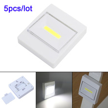 5pcs/lot COB LED Switch night light Wall NightLight Lamp 4*AAA Battery Operated with Switch Magic Tape for children's room