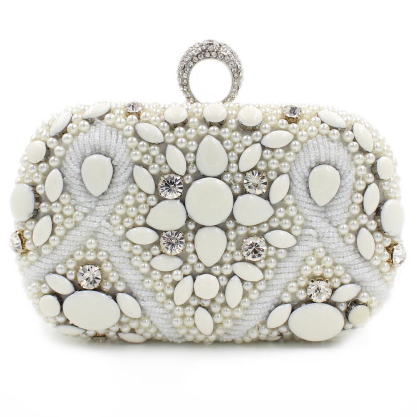 Finger Ring Diamonds Metal Day Clutches Evening Bags Small Purse Beaded Handbags With Chain Shoulder Purse<br>